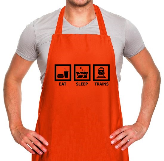 Eat, Sleep, Trains Apron