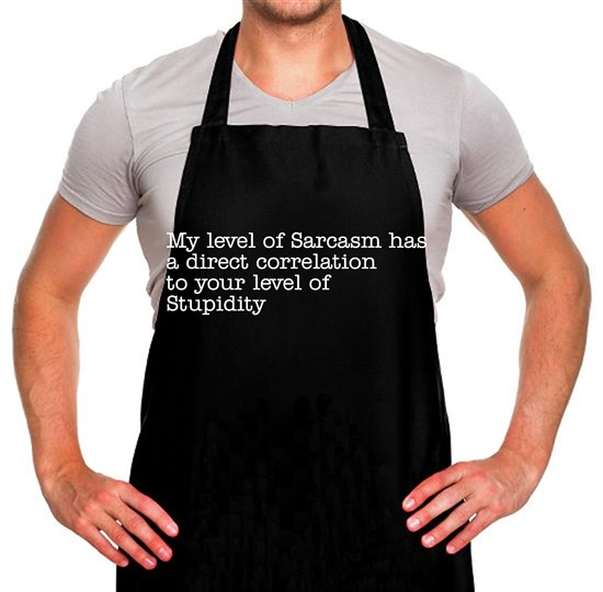 my level of sarcasm has a direct correlation to your level of stupidity Apron