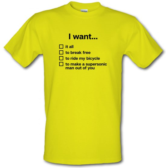 I Want... Queen Lyrics t-shirts
