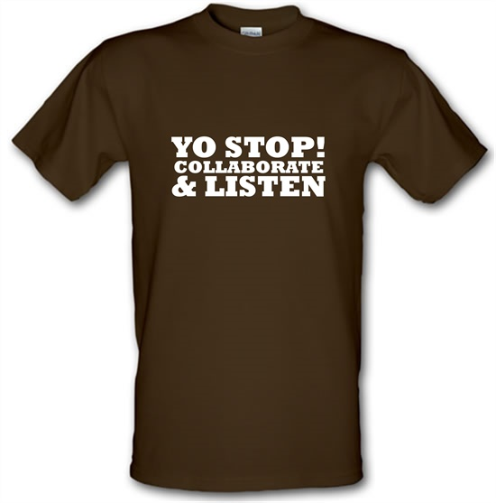 Yo Stop! Collaborate and listen t-shirts