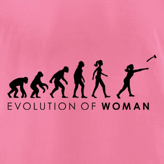 Evolution Of Woman Throwing Axe t-shirts for ladies