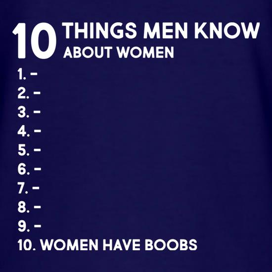 Ten Things Men Know About Women t-shirts