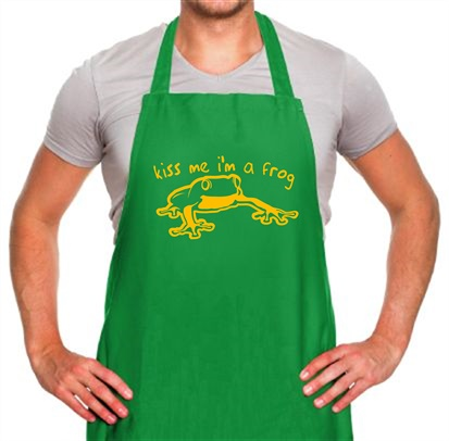 Kiss Me I M A Frog Apron By Chargrilled