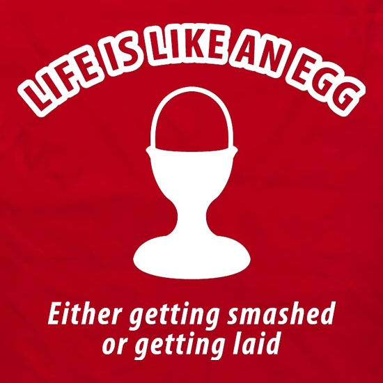 Life's like an egg... either getting smashed or getting laid t shirt