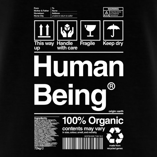 Human Being Care Instructions t shirt