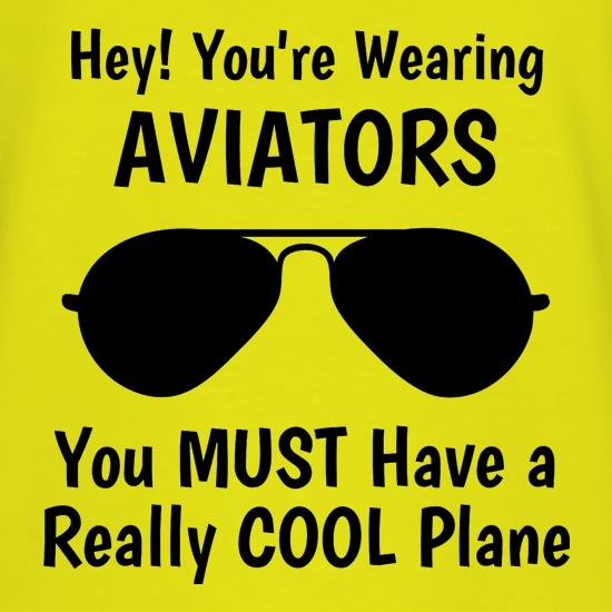 Hey! you're wearing aviators, you must have a really cool plane. t shirt