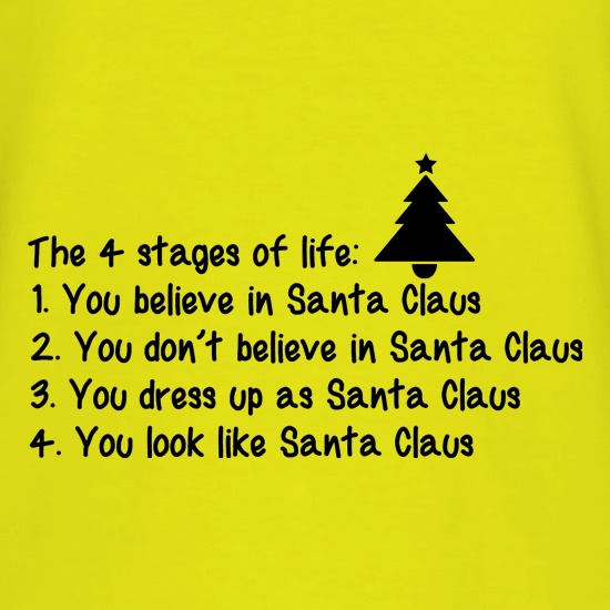 The 4 stages of Life - Santa t shirt
