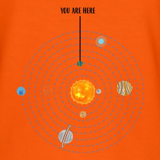 You are Here (Solar System) t shirt
